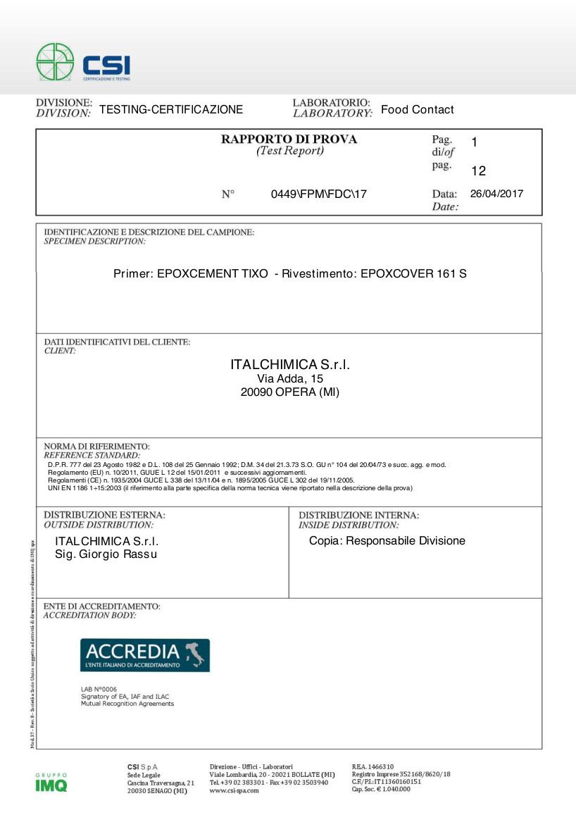 Certificato Idoneità Alimentare EPOXCOVER 161 S