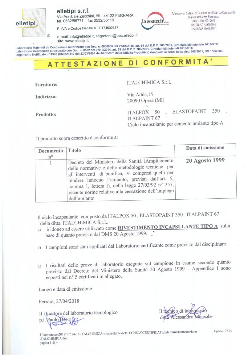 Certificato Incapsulamento Amianto