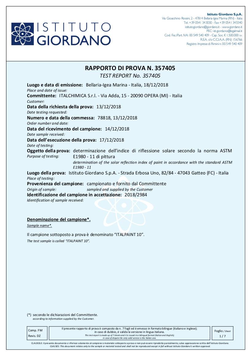 Certificato Riflettanza Solare Resina Poliuretanica