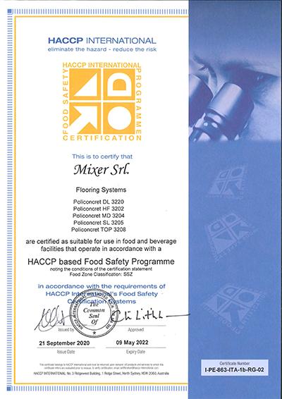 Certificato HACCP Policoncret