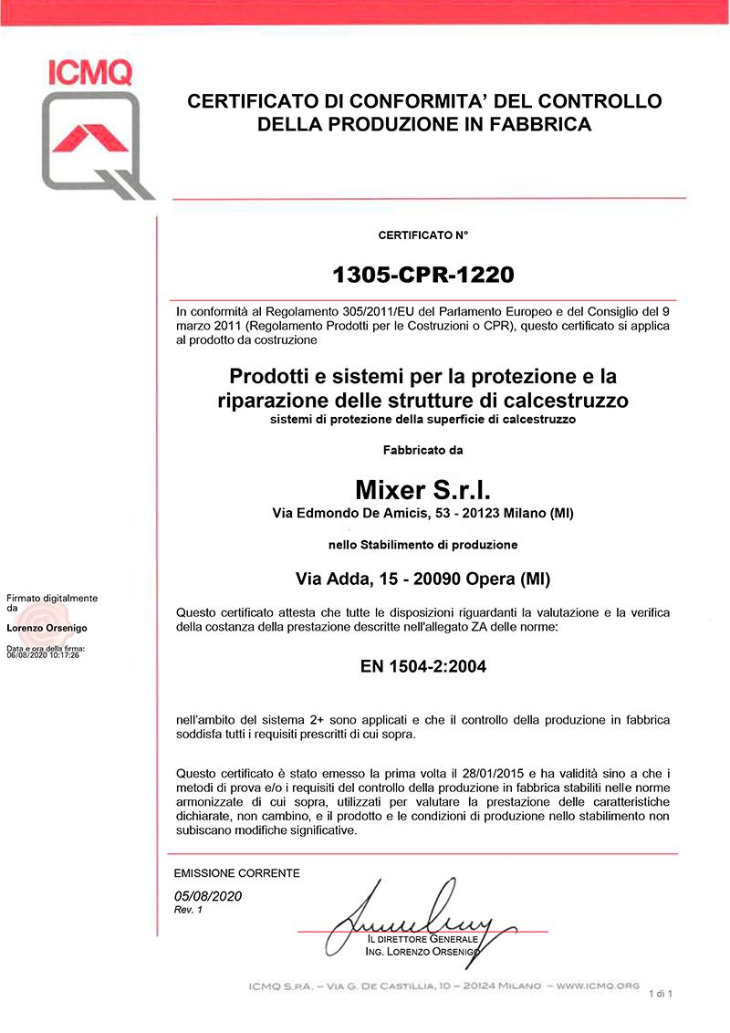 Certificato Marcatura CE Mixer